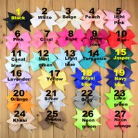 Wholesale 9cm baby Girl Solid color polyester Grosgrain Ribbon Bow for Hair clip or headband mix color