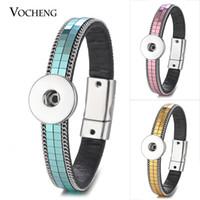 VOCHENG NOOSA pulsera de cuero Ginger Snap joyería botón encantos Cierre magnético 5 colores para 18 mm NN-573