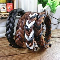 Wholesale DHL Genuine Leather Mens Braided Bracelets Bangles Vintage Handmade Women Braid Bracelet Fashion Charm Jewelry Black Brown Colors
