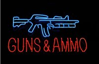 ammo sign - GUNS AND AMMO NEON LIGHT SIGN BEER BAR PUB REAL GLASS TUBE GAMEROOM x14 quot