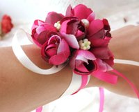 Wedding Rose  Artificial Rose Bride Wrist Flowers Bridesmaid Sisters hand flowers For Wedding Party Decoration Bridal Prom LLFA