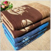 absorbent cotton rolls - 132cm cm Dyed Cotton Bath Towel Blue Brown double sided terry towels soft Absorbent beach towel Smooth sailing pattern