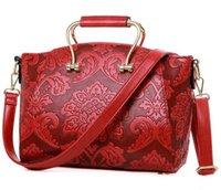 Wholesale Noble Women Casual Tote Crossbody Bags Chinese Style Red Flower Bag Brand Designer Handbag Bolsos De Mujer Bolsa Feminina