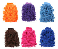 Wholesale Special cleaning fiber superfine single sided car washing gloves chenille coral cashmere super absorbent cleaning good