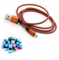 USB For Apple iPhone  Wave Braided Aluminum USB Charger Cable Nylon Micro Data Alloy Metal Steel Charger Adapter 1m Colorful Cord Wire for Samsung HTC Blackberry