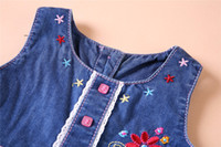 Summer Knee-Length Denim free shipping 2017 summer denim dress trendy baby clothing toddler girls summer wear stylish designed floral embroidered baby denim dress