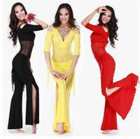 Wholesale 2016 Hot Sale New Haft sleeved V neck belly dance set Milk Silk Belly Dance Costumes women for training clothing Top Pants