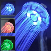 Wholesale 3 Colors LED Shower Head Changing Light Water Temperature Rainfall Hand held New Faucets Bathroom Shower Heads