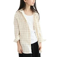 Wholesale Pretty Girls Shirts Striped Plaid Shirt Long Sleeved Turn down Collar Blouses Loose Shirts for Girls