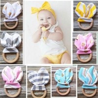 animal practices - Baby Teether INS Baby Chevron Zigzag Teethers Natural Wood Circle With Rabbit Ear Fabric Newborn Teeth Practice Toys Training Handmade Ring