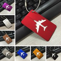 aluminum luggage tags - 7 Colors Aluminum Plane Pattern Luggage Tag Travel Suitcase Tag Cute Metal Luggage Identification Boarding Pass Checked Label PPA687