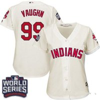 authentic clothing - Women s Cleveland Indians Ricky Vaughn Authentic Cream Alternate2 World Series Bound Cool Grey Beige White Baseball Jersey clothing