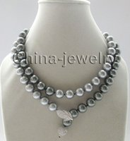 amp chain necklace - new Noble fine jewelry gem gt gt gt gt gt mm perfect round gray amp peacock black south sea shell pearl necklace