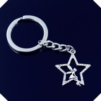 Wholesale new fashion men mm keychain DIY metal holder chain vintage angel star mm antique silver key rings