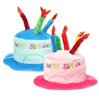 as pic Cap Event & Party Supplies Wholesale- 2 Colors Birthday Cake Candle Hat Short Plush Children Adult Party Amusement Park Supplies Performing Dress Props Dog Cap