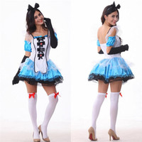 Wholesale 2017 Alice In Wonderland Dress Fantasy Blue Maid Outfit Adult Fairy Tale Costume Halloween Cosplay Sexy Skirt Headdress With Gloves