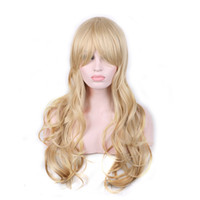 Wholesale WoodFestival long blonde curly wigs natural cheap hair wig blond fiber synthetic wigs with bangs good quality