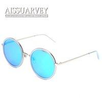 al por mayor vintage door black-Gafas de sol de la moda de las mujeres espejo redondo gafas de reflexión polarizado lentes de puerta de conducción de metal vintage diseño de marca negro rosa amarillo