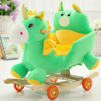babies rocking horse - Kids Rocking Horse Pony Elephant Ride On Toy Baby Comfy Musical Chair Wooden Kids Chair Swing Seat Cute Gift VT0430