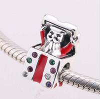 925 de plata de ley Santa Claus Navidad regalo caja de cuentas de perlas se ajusta a Pandora pulsera joyería