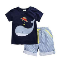 Boy Summer Cotton Baby Boy Outfits Sets 2017 Whale Striped Casual Outfits Little Boys' Cotton Clothing Short Sets Outwear Baby Boy Clothing Baby Clothes 300