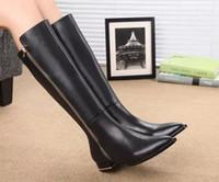 achat en gros de véritable genou en cuir bottes hautes-Chaussures De Luxe De Marque De Marque Des Femmes Hauteur Bottes 2016 Automne Hiver Chaussures De Cuir Authentiques Femmes Sur Les Bottes De Genou zapatillas hombre