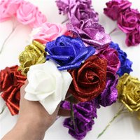 Wholesale Decorative Glitter Flowers artificial foam flower rose with stem to home party wedding banquet decoration DIYcrimping branch