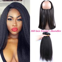 Wholesale Malaysian Kinky Straight Lace Frontal With Bundles Italian Coarse Yaki Degree Lace Band Frontal Closure Natural Hairline