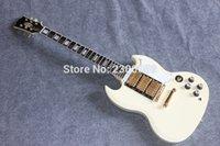 Venta al por mayor mayorista de productos de apoyo personalizado guitarra SG guitarra eléctrica de color caoba cuerpo crema color amarillo