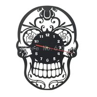 Wholesale Piece Day of the Dead Mexican Skull Ornament Wall Clock Quartz Ring Face Halloween Decor Clock Awesome Gift