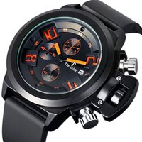 aviator chronograph watch - Pilot Style Japan Quartz Movement Men Date Day Hands Silicone Band Chronograph Aviator Quartz Wrist Watch Boy birthday Gift