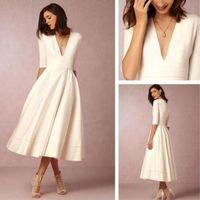 BHLDN Elegante longitud de té blanco profundo cuello en V una línea de vestidos de cóctel media manga larga formal vestidos de fiesta Vestidos de Novia Custom Made