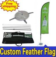 Wholesale 55cm cm Custom DOUBLE Sided beach Flags Banner Feather Flags Drapeau De Plumes Fjader Flagg Hoyhen Lippu
