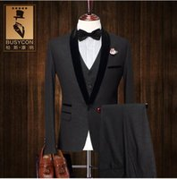 Wholesale Fashion Black Tuxedo Dinner Jacket For Men Suit Wedding Groom Slim Fit Piece Formal Dress Jacket Vest Pants