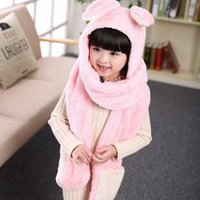 Wholesale Winter Scarf children cartoon thick warm gloves hat one rabbit collar embroidery yarn