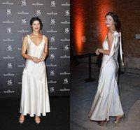Wholesale red carpet dresses spaghetti straps V neck zipper back prom dress satin a line floor length celebrity dresses
