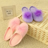 big house fabrics - Soft Big Fur Balls Hairy House Women Slippers Lady s Floor Shoes Winter Autumn Warm Waterproof Cotton Home Confinement Hot