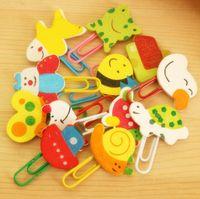 Wholesale 7pcs set hotsale school office supplies creative hotsale new cute cartoon bookmark colorful wooden paper clips stationery