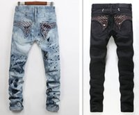 Wholesale Men Straight Jeans Classic Denim Trousers designer biker Jeans For Men High Quality Cotton Jeans Fried Snow Slim Jeans Rhinestone Decoration