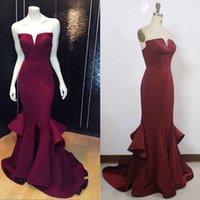 Longues robes de soirée rouge de photos France-HarveyBridal Sexy Deep V-cou robes de soirée rouge 2017 sirène robes de soirée formelles 100% réel image Robes de bal promises simples robes de bal