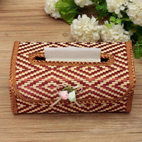 Seat Type bamboo tissue paper - Bamboo Tissue Box Paper Napkin Holder Kitchen Towel Tube Container Car Facial Tissue Vintage Decorating Case Handmake