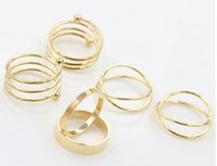 Wholesale Cross personality ring six woolly ring hot metal combination
