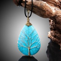 Wholesale Natural Stone Water Drop Life Tree Pendants Necklaces Chain Jewelry For Women Charms Bohemian Healing Chakra Amulet Fashion Jewelry