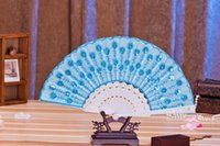 Wholesale Newest Fashion Colorful Fold Fans Peacock Embroidery Fabric Folding Fans Sequins Fans Plastic Handle Wedding Accessories
