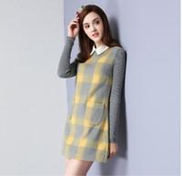 Wholesale Fashionable ladies winter new long sleeved plaid lapel skirt slim base dress ladies woolen dress