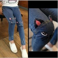 Wholesale Cute Cartoon Elastic Waist Pattern Kids Jeans Spring Autumn Lovely Cat High Quality Children Pants Casual trouses Baby Girls Jeans