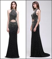 autumn wear - Stunning Pearls Sexy Prom Dresses Halter Neck Backless with Beads Mermaid Evening Gowns Red Carpet Wear Real Image CPS534
