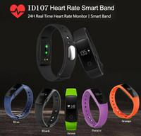 оптовых частота сердечных сокращений телефона-Fitbit Smart Watch ID107 Bluetooth 4.0 Smart Bracelet с монитором сердечного ритма Фитнес-трекер Спортивные наручные часы для Android IOS 7.1 Phone