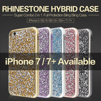Wholesale Hybrid in phone case diamond rhinestone bling back cover cell phone cases For iphone s plus protection