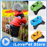 Wholesale Pet dog clothes down jacket coat of new fund of autumn winters is bright with cap four feet